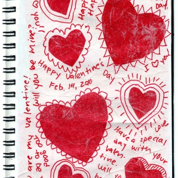 Hearts on Textured Paper