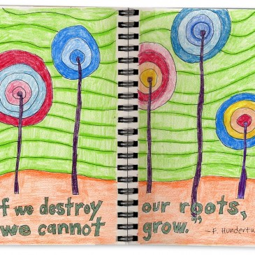 Hundertwasser Flower Drawing