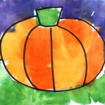 Pumpkin Tissue Paper Painting