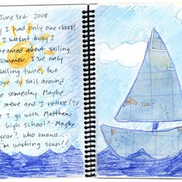 Boat Collage and Writing