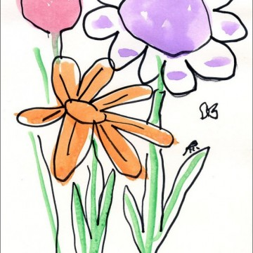 Paint and Trace Watercolor Flowers