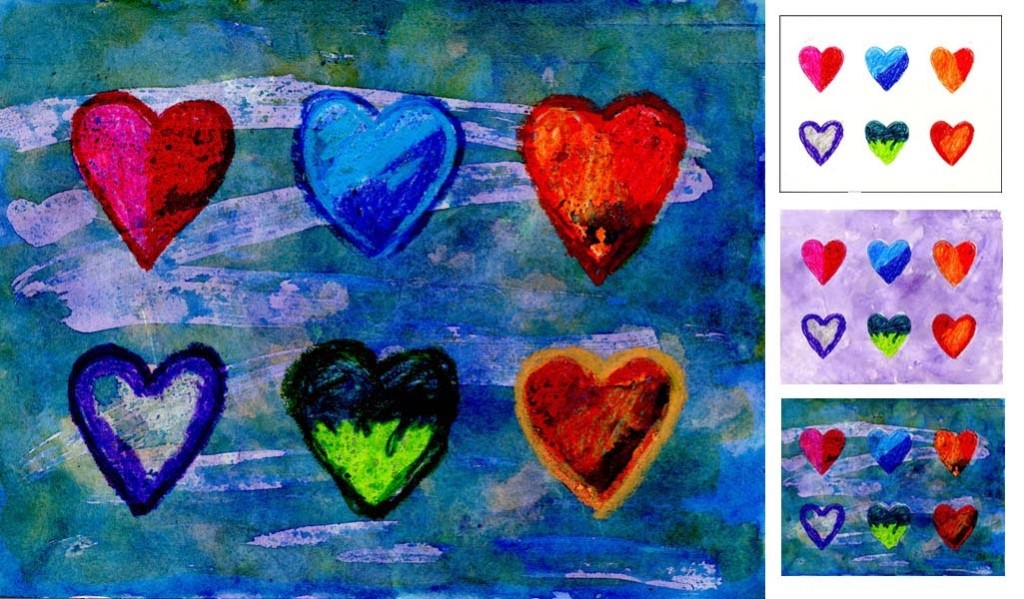 Watercolor resist heart painting art projects for kids for Watercolor painting and projects
