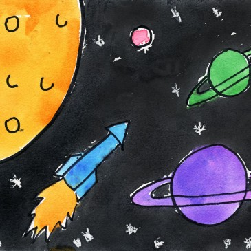 Outerspace Watercolor Painting