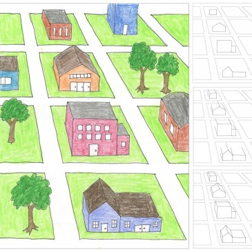 City Block One-Point Perspective Drawing