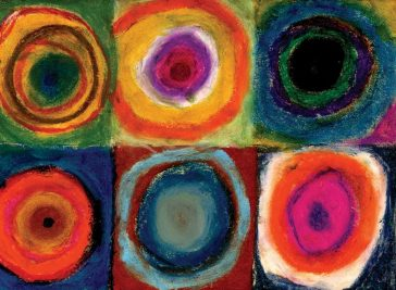 Kandinsky Circles with Oil Pastels