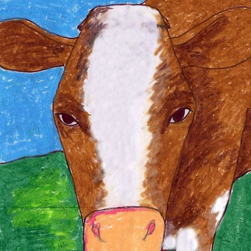 In Your Face Cow Drawing