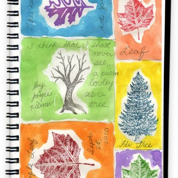 Tree Stamps and Watercolor