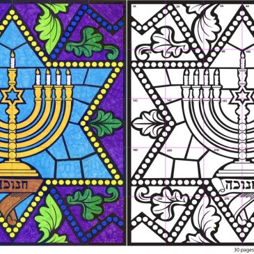 Stained Glass Hanukkah Menorah Mural
