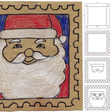 How To Draw a Santa Stamp