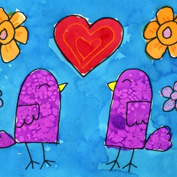 Symmetrical Valentine Birds