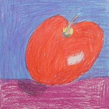Colored Pencil Apple Drawing