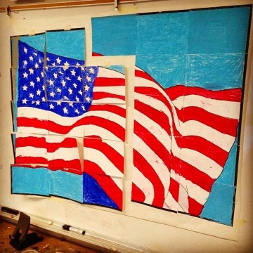 Flag Mural and a Glue Stick