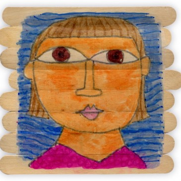 Hundertwasser Portrait on Sticks