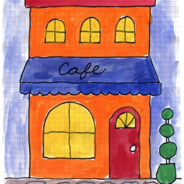 Cafe Tempera Painting