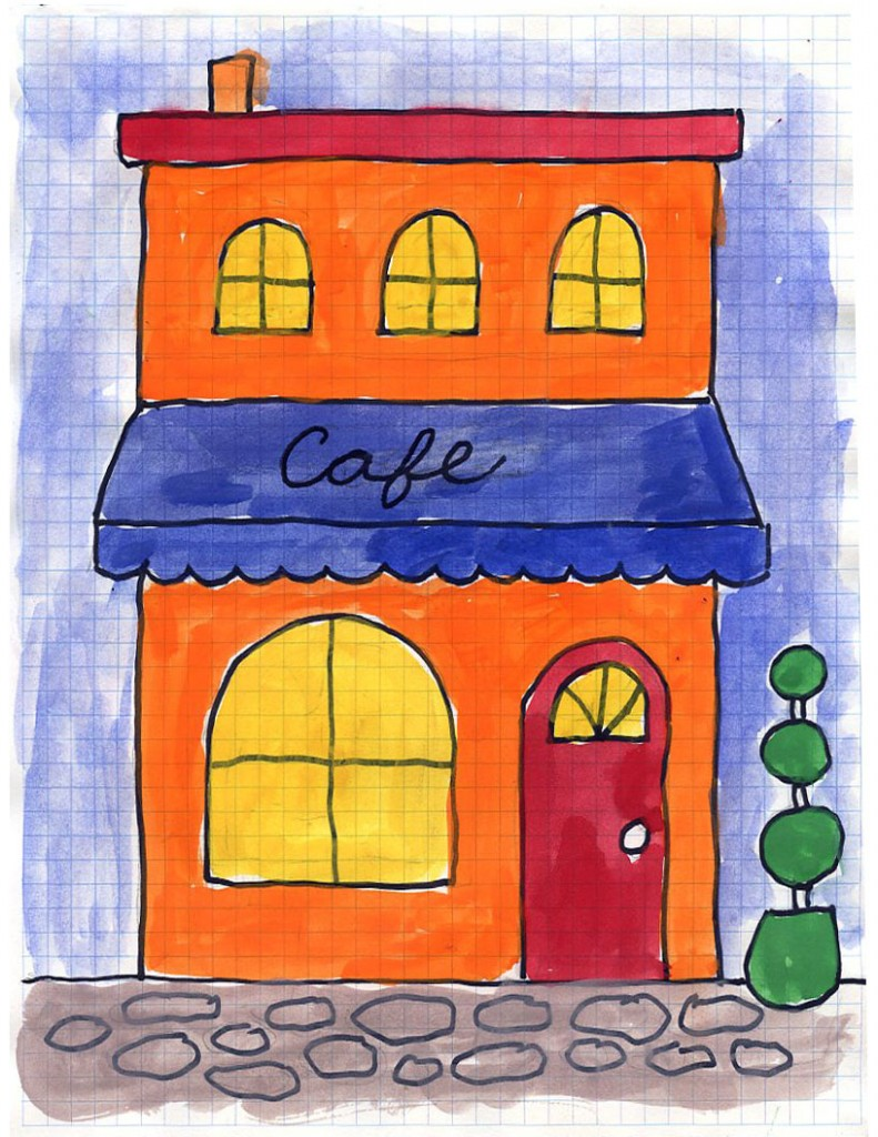 cafe drawing