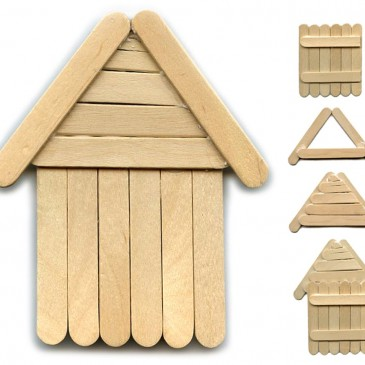 President's Day Popsicle Stick Log Cabin