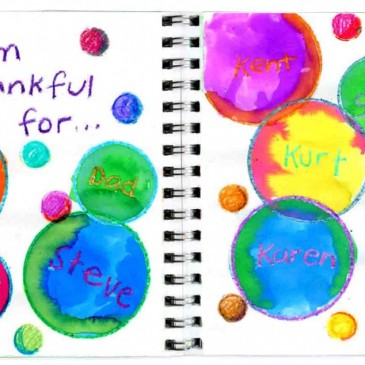 """Thankful"" Bubbles Art Journal Page"