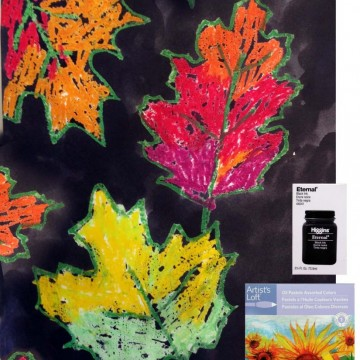 Oil Pastel and Ink Leaves