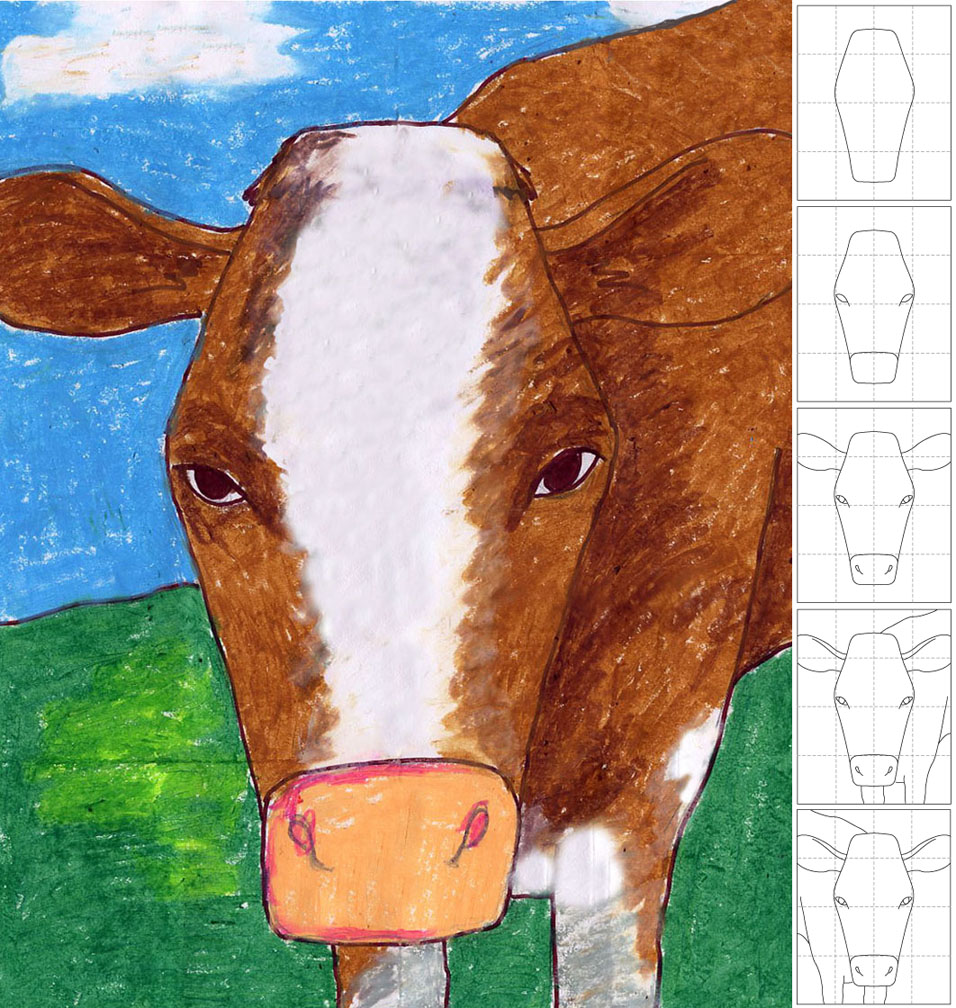 Line Drawing Cow Face : In your face cow drawing art projects for kids