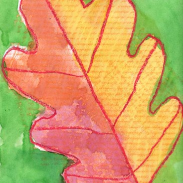 Watercolor Crayon Resist Leaf