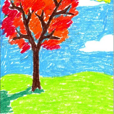 Fall Oil Pastel Tree