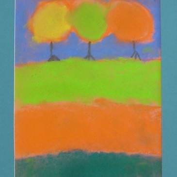 Chalk Pastel Fall Landscape
