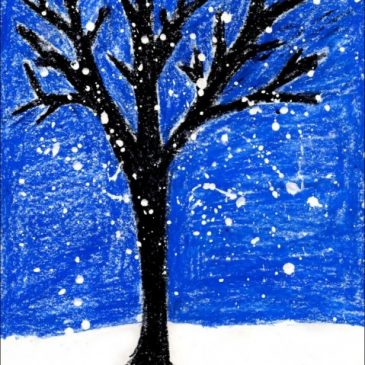 Snowy Winter Tree Painting
