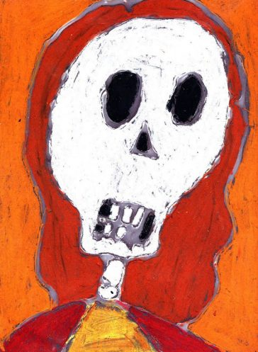 Day of the Dead Pastel and Glue Drawing