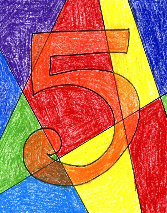 abstract numbers art projects for kids