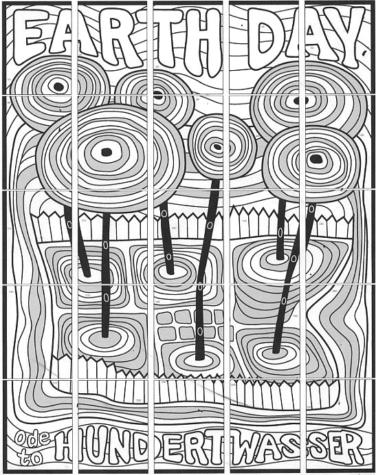 Earth Day Mural, Hundertwasser style collaborative art project diagram