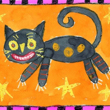 Folk Art Halloween Cat Painting