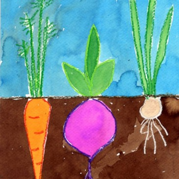 Make a Vegetable Painting, Roots and All