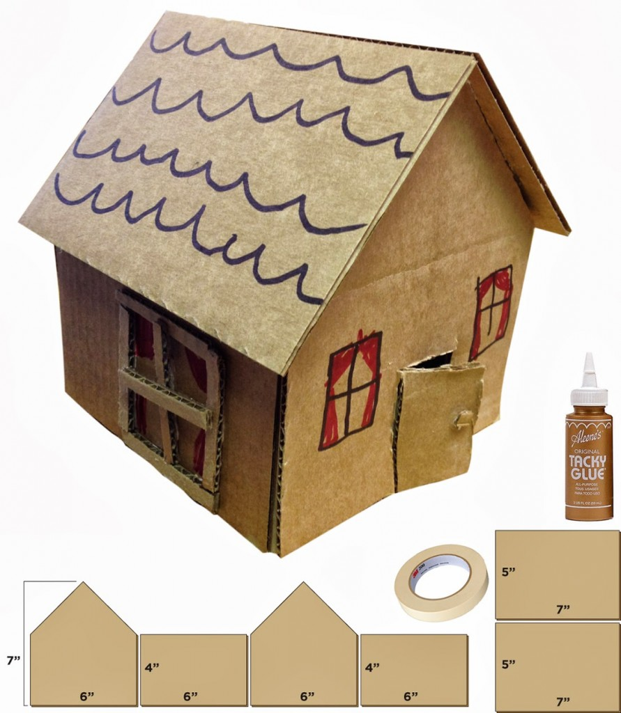 Little cardboard houses art projects for kids for Build a 3d house online