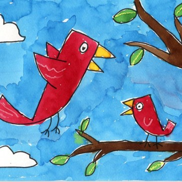 Birds in a Tree Painting