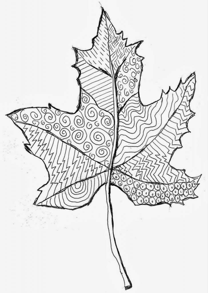 Zentangle leaves art projects for kids - Leaves paintings and drawings ...