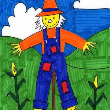 Scarecrow Marker Drawing