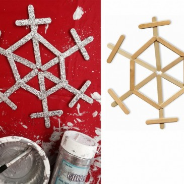 Glittery Popsicle Stick Snowflake
