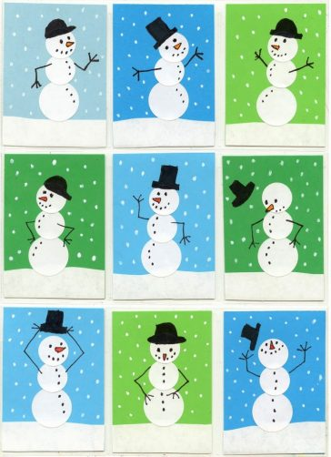 Sticker Snowmen Card