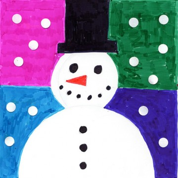Abstract Snowman Card