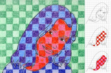Chuck Close Portraits with Squares