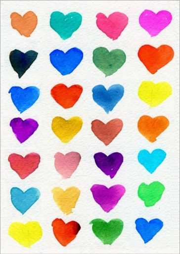 Colorful Rows of Hearts