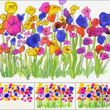 Watercolor Flower Garden