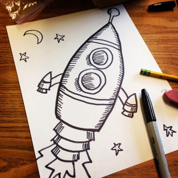 Old Style Rocket Drawing