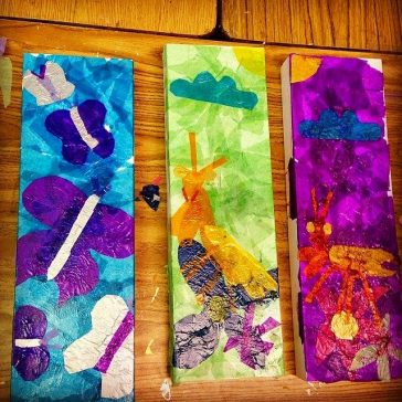 Tissue Paper Collage Boxes