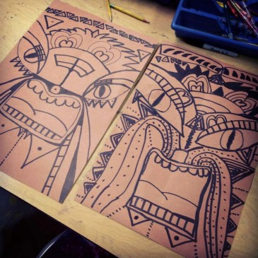 Tiki Face Drawings