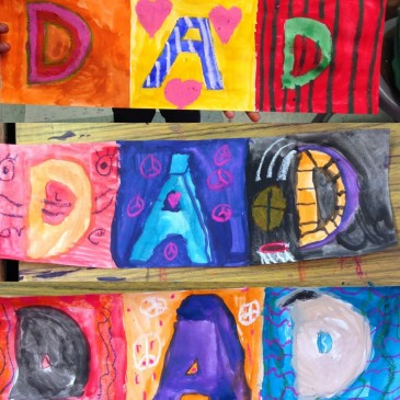 Tempera and Oil Pastel Dad Card