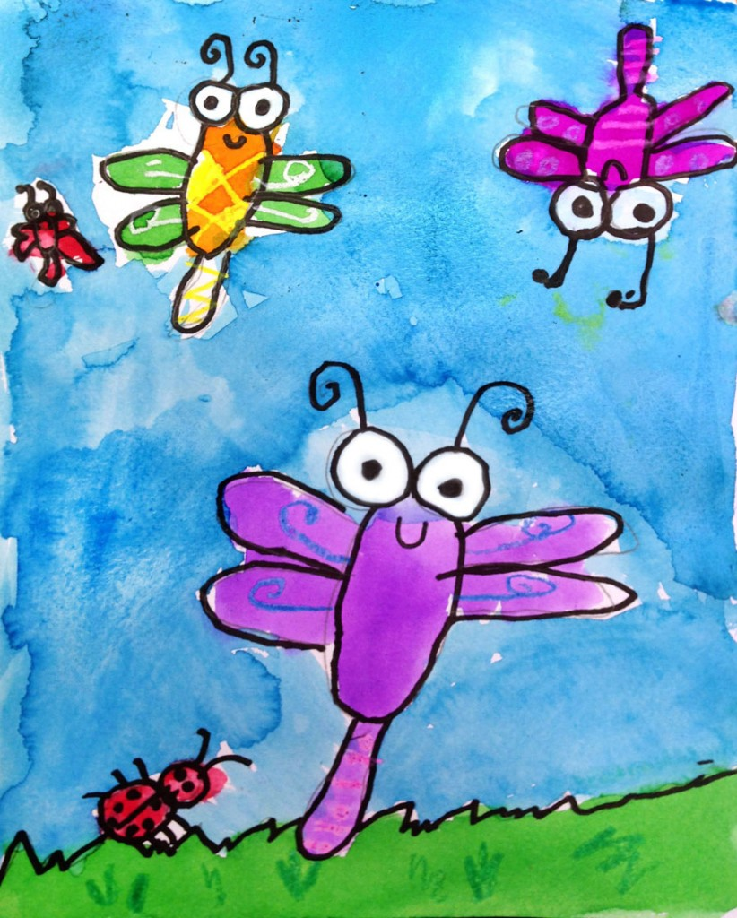 Super simple bug painting art projects for kids for Simple watercolor paintings for kids