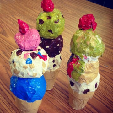 Shiny Mache Ice Cream Cones