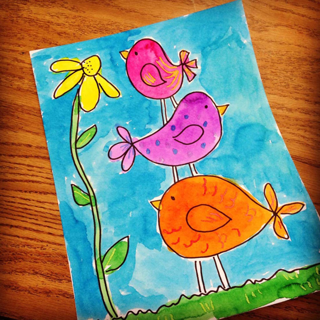 Stacked little birdies art projects for kids for Simple watercolor paintings for kids