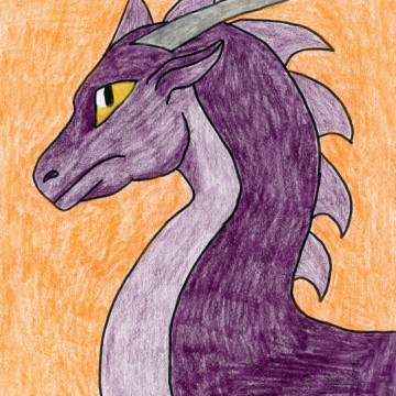 Draw A Purple Dragon Head